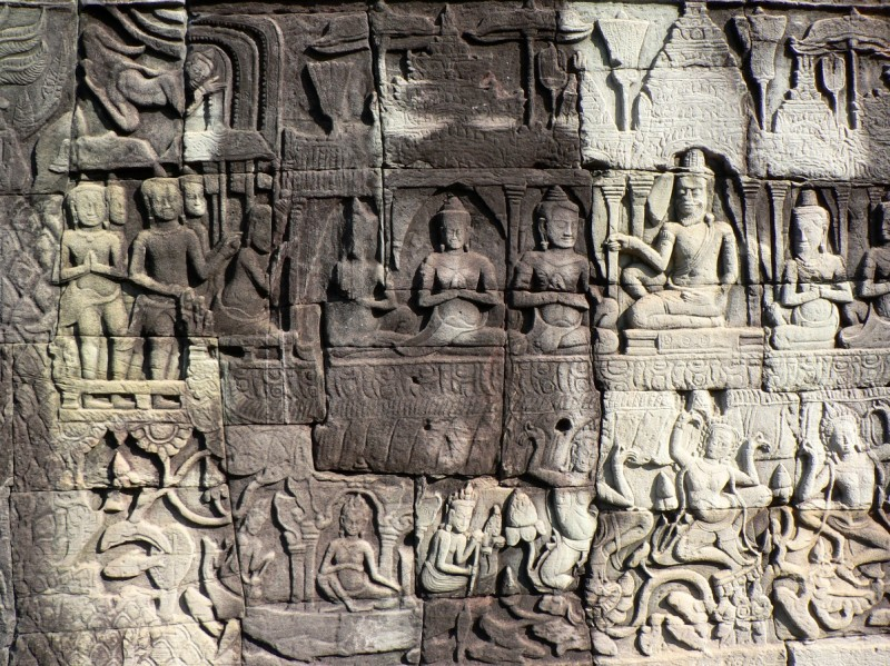 Bas relief carvings Bayon Temple