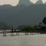 Bridge across Nam Song river Vang Vieng