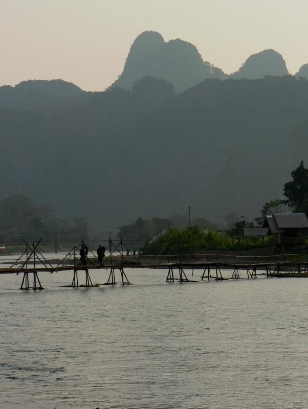 Bridge across Nam Song river Vang Vieng