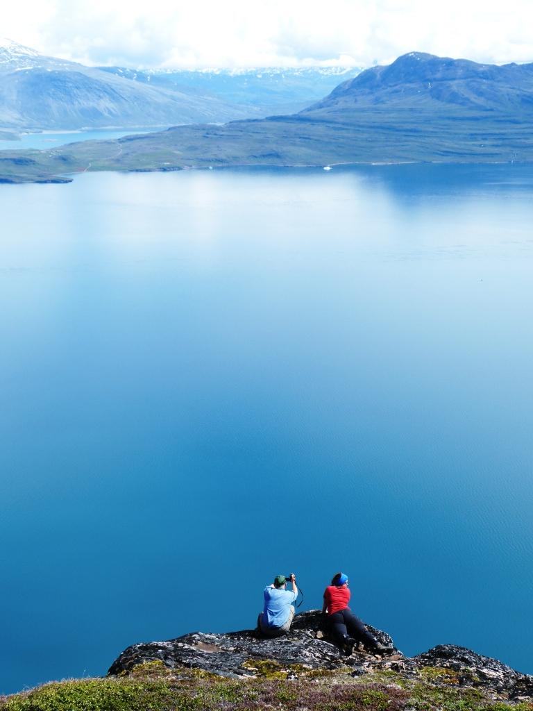 admiring fjord views