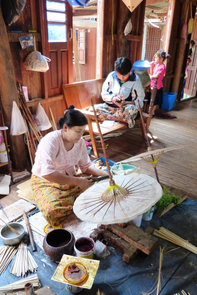 Making parasols Inle Lake