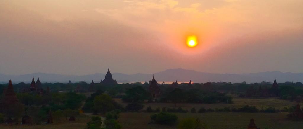 Sunset panorama Bagan temples