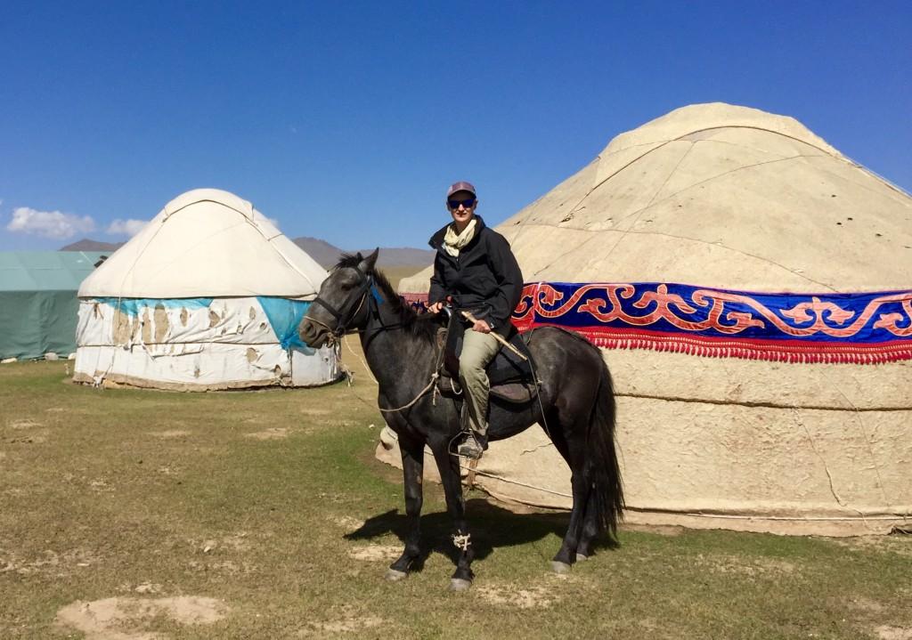 Arriving yurt camp Song Kul