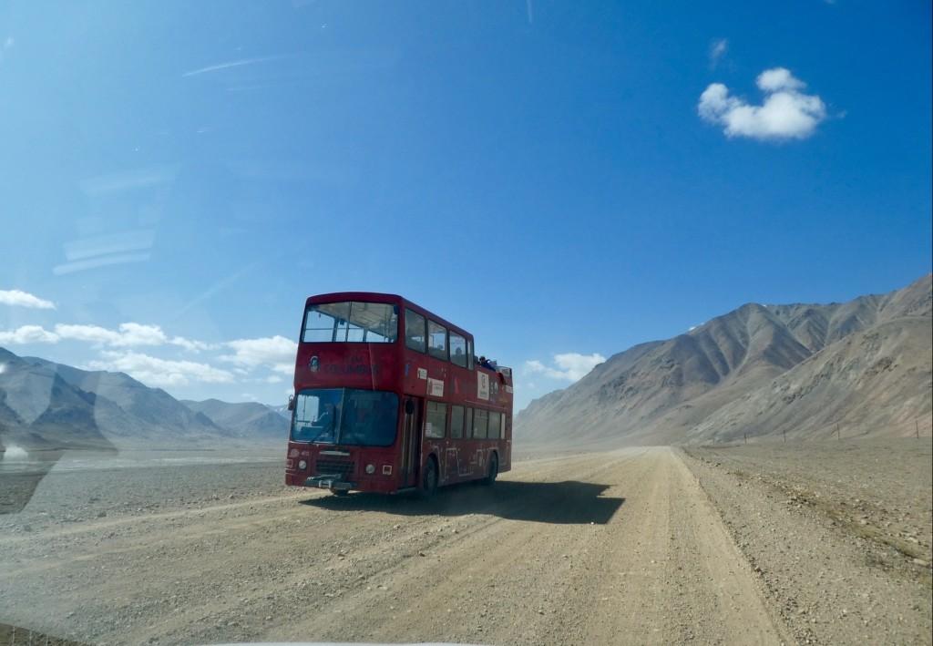 London double decker bus, Pamir Highway