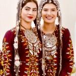 Turkmen women in traditional dress