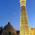 Kalon minaret at night