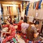 Silk carpet making Khiva