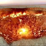 Darvaza burning gas crater in Karakum desert