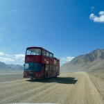 London bus on the Pamir Highway