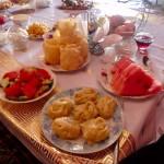 Dumplings and fresh melon