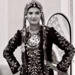 Turkmen girl in traditional dress