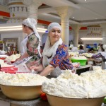 Selling cheese Dushanbe market